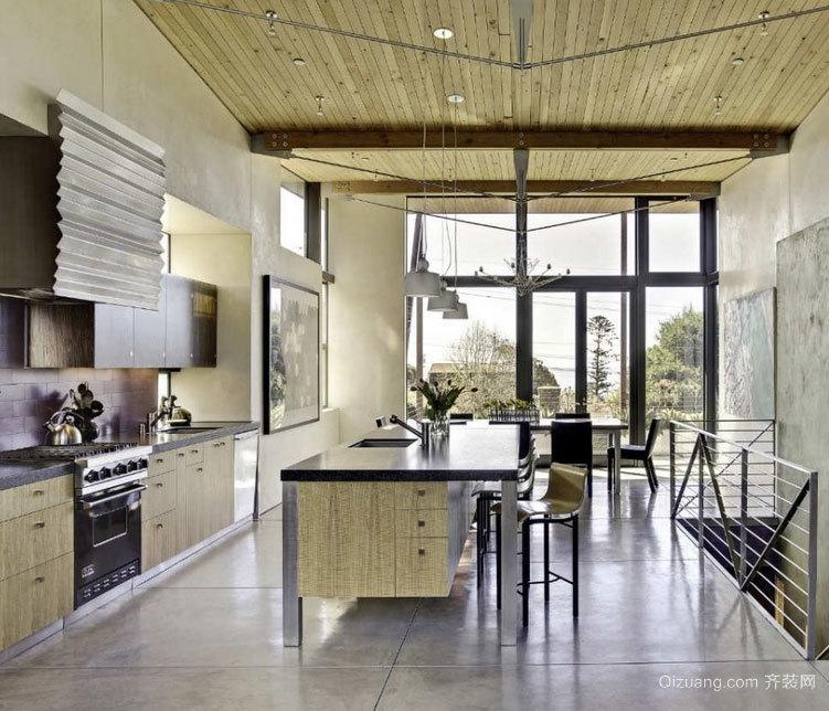 90平米设计独特的开放式厨房装修效果图大全