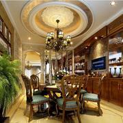 美式大餐厅圆形吊顶图