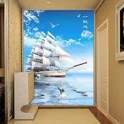玄关帆船图案背景墙