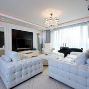 客厅舒适白色大沙发展示