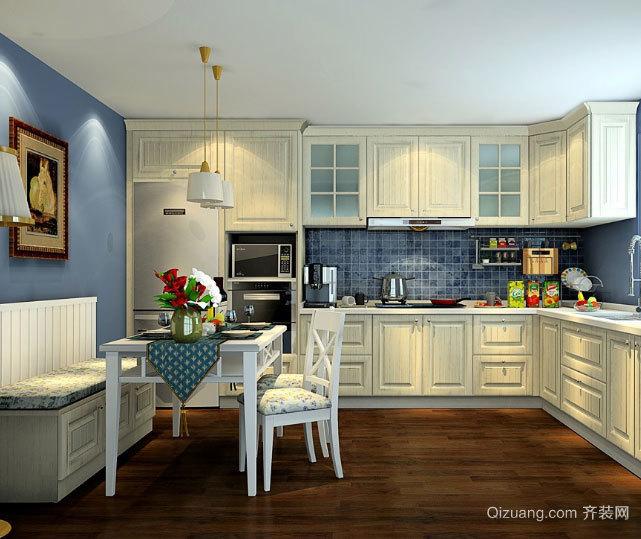 30平米美式橱柜一体化厨房装修效果图