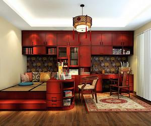 50平米中国韵特色古典书房装修效果图