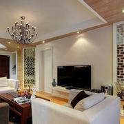 客厅白色镂空隔断设计