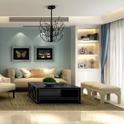 客厅沙发蓝色背景