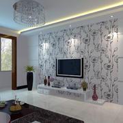 灰白时尚的电视墙实景图