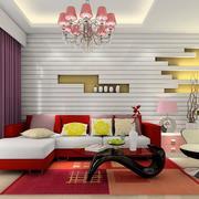 红色靓丽的客厅地毯