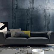 客厅沙发黑色背景墙