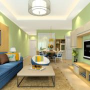 客厅绿色墙壁图片