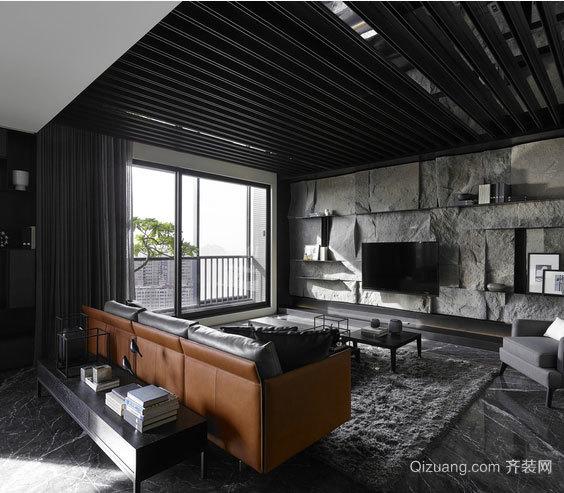 冷色调黄金单身汉家居室内客餐厅装修设计效果图