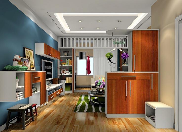 现代简约40平米客厅 玄关隔断柜 装修效果图 齐