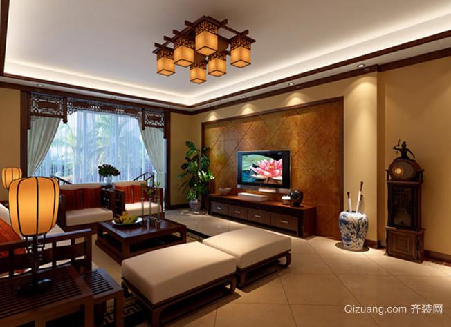 三居室橙色中式风格家居装修效果图