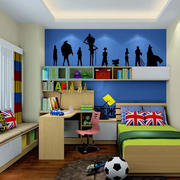 卧室蓝色壁纸图