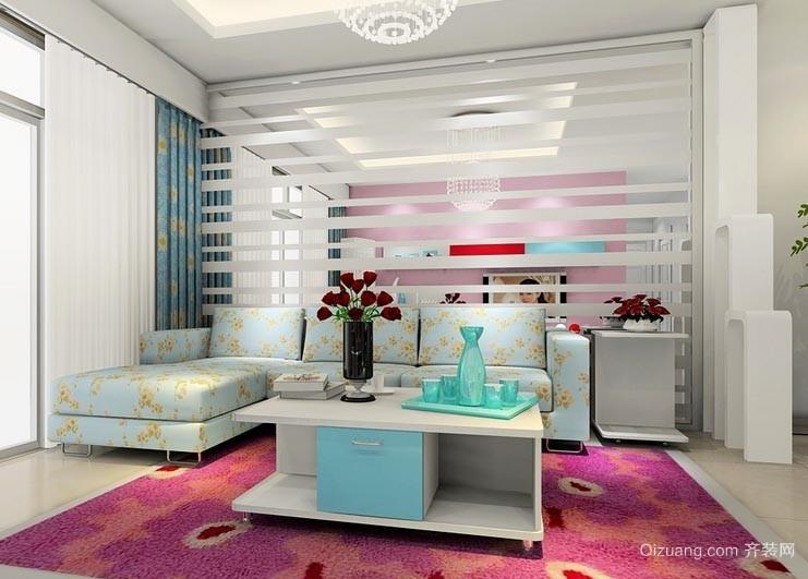 三室一厅年轻人住的客厅沙发背景墙装修效果图
