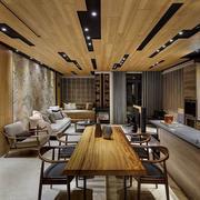 大餐厅创意天然木吊顶