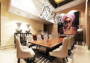 100平米巴洛克风格客餐厅一体化装修效果图