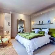 卧室绿色背景墙