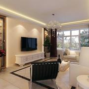 客厅米白色电视背景墙