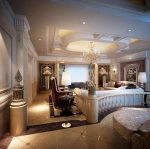 大气恢宏的古典欧式别墅客厅吊顶装修效果图