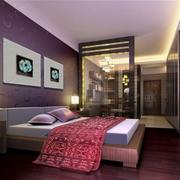 小公寓紫色浪漫卧室图