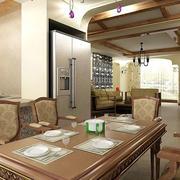 餐厅咖啡色的餐桌椅图片