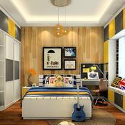 卧室原木色背景墙