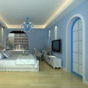 卧室蓝色隐形门