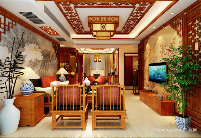 亮红色的新中式风格家居装修效果图鉴赏