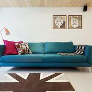 别墅酷炫深蓝色沙发摆放