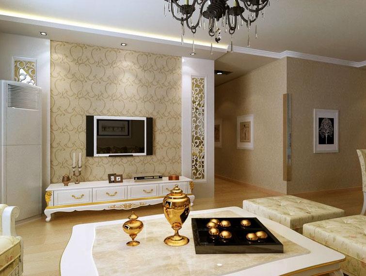 单身公寓 简欧 风格客厅 石膏线 装修 效果图 大全