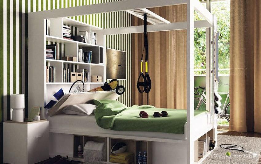 40平米现代简约挂蕾丝床幔的四柱床卧室装修设计效果图