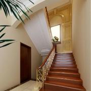 华丽温暖的木质楼梯图