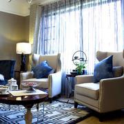 别墅客厅落地窗帘欣赏