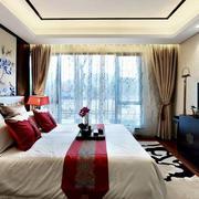 大户型卧室中式背景墙