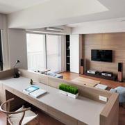 简约式家居开放式客厅大书桌