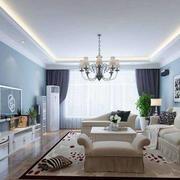 客厅白色线条吊顶