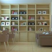 雅致的书房原木色书柜