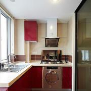 厨房红色橱柜展示