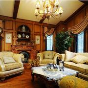 美式客厅沙发摆放图