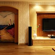 客厅自然木背景墙