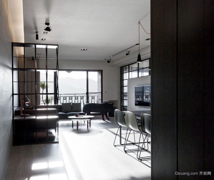 120平米后现代黑白两色打破常规的房屋装修效果图