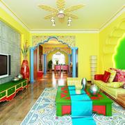 家居色彩鲜艳的客厅实景