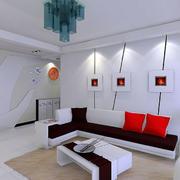 室内白色客厅装饰画