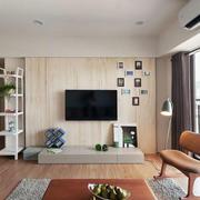 简约式家居客厅电视原木背景墙