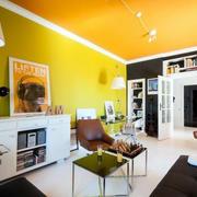 公寓橙色客厅墙面