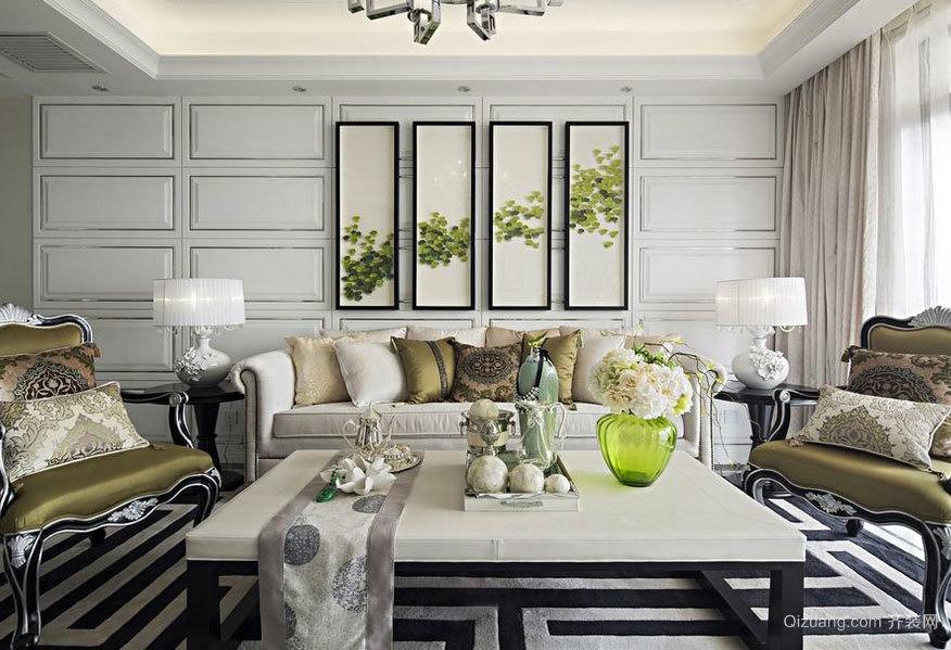 简欧风格唯美大户型别墅客厅装修效果图