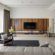 客厅电视自然木背景墙