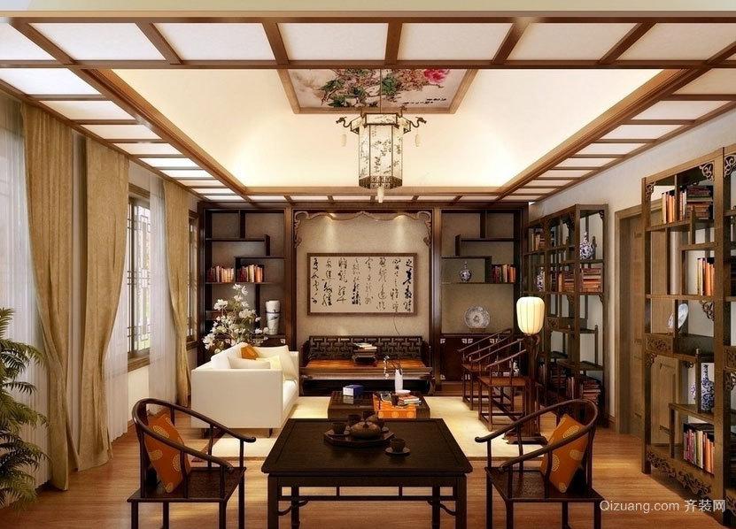 三室一厅色调沉稳的中式客厅博古架装修效果图鉴赏