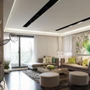 小户型客厅白色窗帘