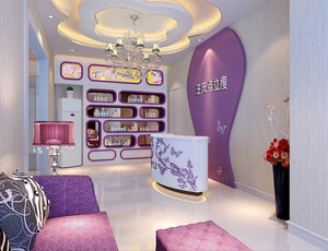 紫色美容院大厅