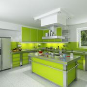 绿色开放式厨房欣赏